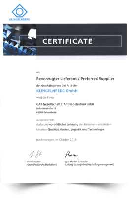 Certificate preferred supplier Klingelnberg 2018