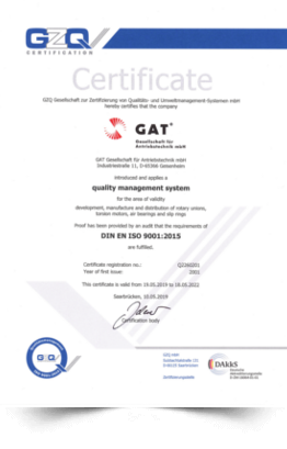 Certificate DIN ISO 2019
